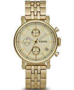 Fossil Boyfriend Chronograph Champagne Dial ES2197 Womens Watch