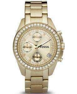 Fossil Decker Chronograph Crystals Gold-Tone ES2683 Womens Watch
