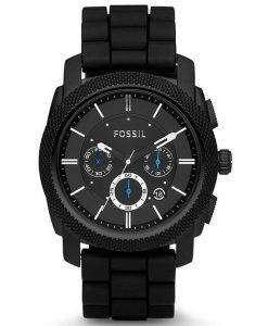 Fossil Machine Chronograph Black Silicone Strap FS4487 Mens Watch