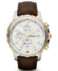 Fossil Dean Chronograph Two-Tone Brown Leather Strap FS4788 Mens Watch