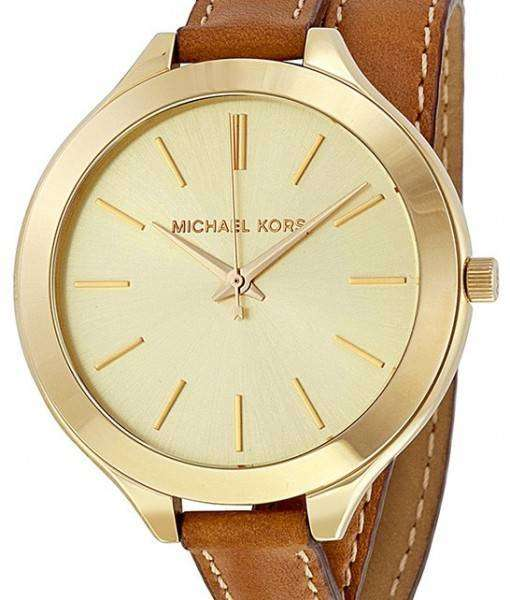 Michael Kors Runway Champagne Dial Tan Leather MK2256 Womens Watch
