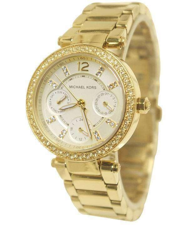 93b7c242a103 Michael Kors Mini Parker Champagne Glitz Dial Crystals MK6056 Womens Watch