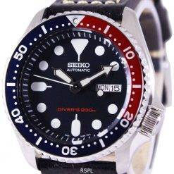 Seiko Automatic Divers Black Leather SKX009K1-LS2 200M Mens Watch