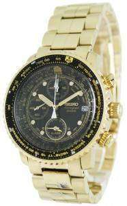 Seiko Alarm Chronograph Pilots Flightmaster Gold Plated SNA414P1 Watch