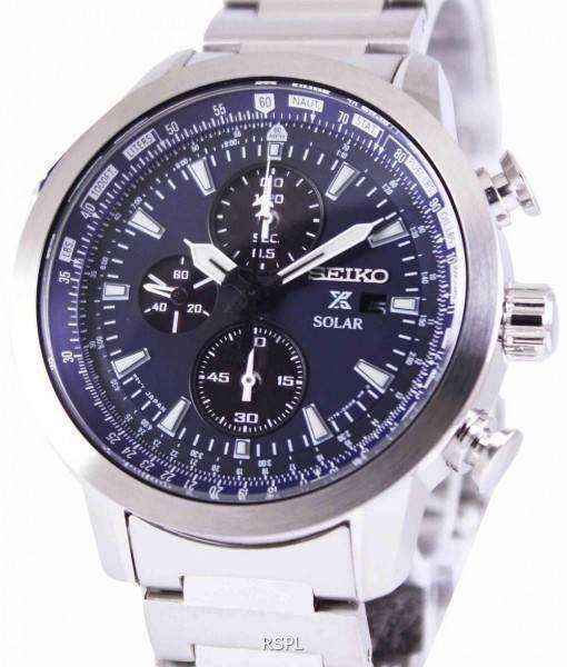 Seiko Prospex Sky Solar Chronograph Pilots SSC347P1 SSC347P Mens Watch