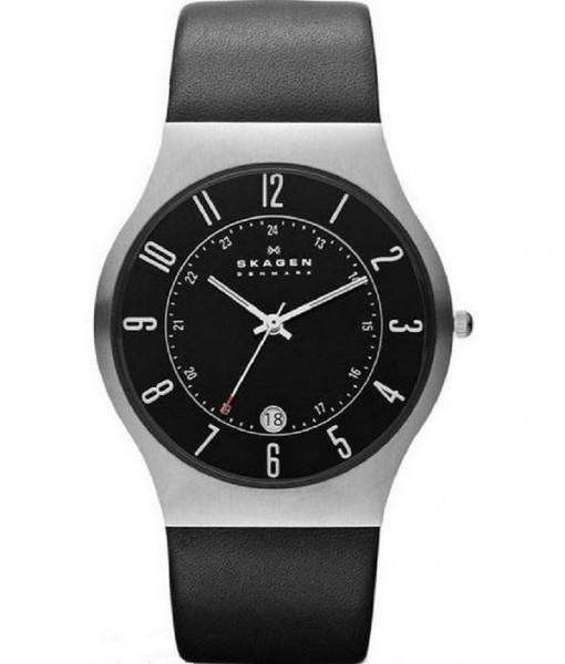 Skagen Grenen Classic Black Dial Black Leather 233XXLSLB Mens Watch