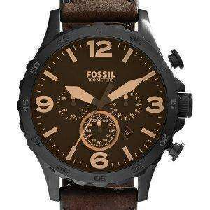 Fossil Nate Chronograph Brown Leather JR1487 Mens Watch