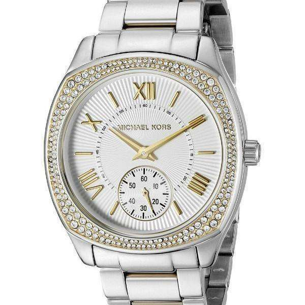 Michael Kors Ladies Watch MK A stunning ladies Michael Kors watch in PVD rose plating, with a sparkling stone set bezel. This watch also features date function, chronograph and the bracelet fastens with a push-button clasp.
