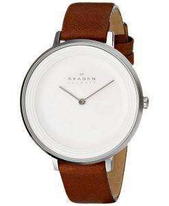 Skagen Ditte Silver Dial Brown Leather SKW2214 Womens Watch