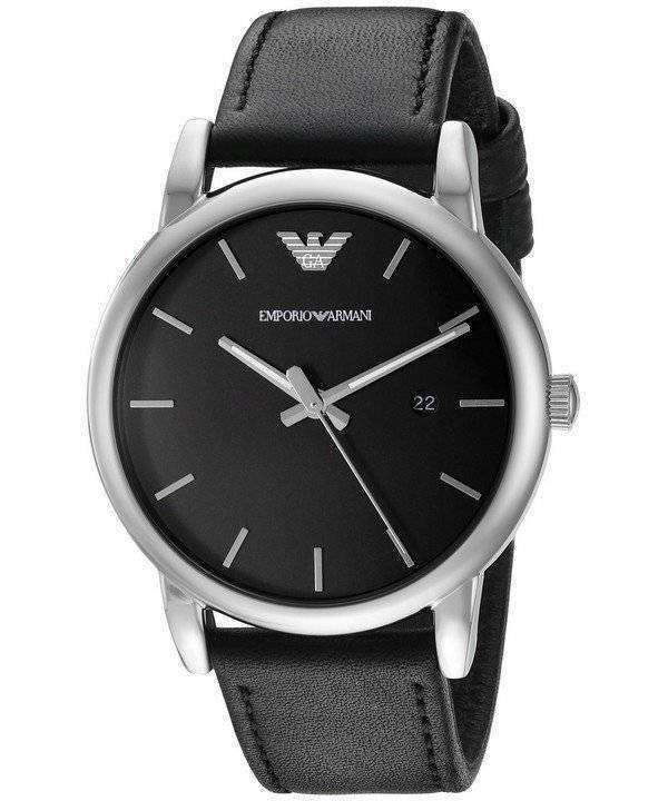 Emporio Armani Classic Black Dial Black Leather AR1692 Mens Watch