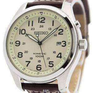 Seiko Kinetic Beige Dial 100M SKA723P1 SKA723P Men's Watch