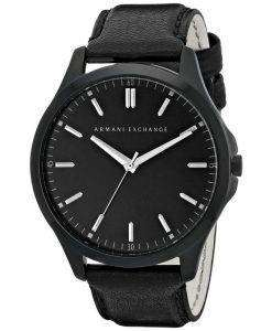 Armani Exchange Quartz Black Dial Black Leather Strap AX2148 Men's Watch