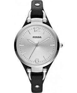 Fossil Georgia Quartz Black Leather Strap ES3199 Womens Watch