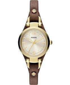 Fossil Georgia Mini Quartz Brown Leather Strap ES3264 Womens Watch