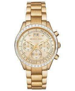 Michael Kors Brinkley Chronograph Gold Tone Crystals MK6187 Womens Watch