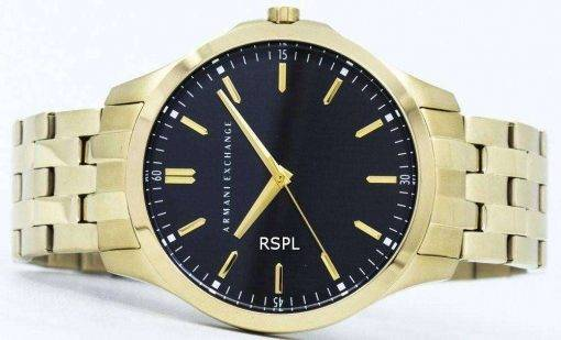 Armani Exchange Quartz Black Dial Gold Tone Stainless Steel AX2145 Mens Watch