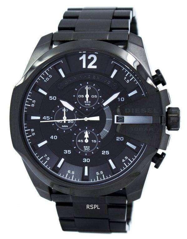 Diesel Mega Chief Quartz Chronograph Grey Dial Black IP DZ4283 Mens Watch