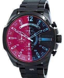 Diesel Mega Chief black Ion Plated Brown Dial DZ4318 Mens Watch