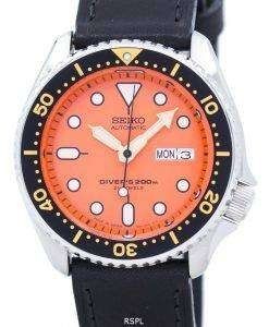 Seiko Automatic Diver's Ratio Black Leather SKX011J1-LS8 200M Men's Watch