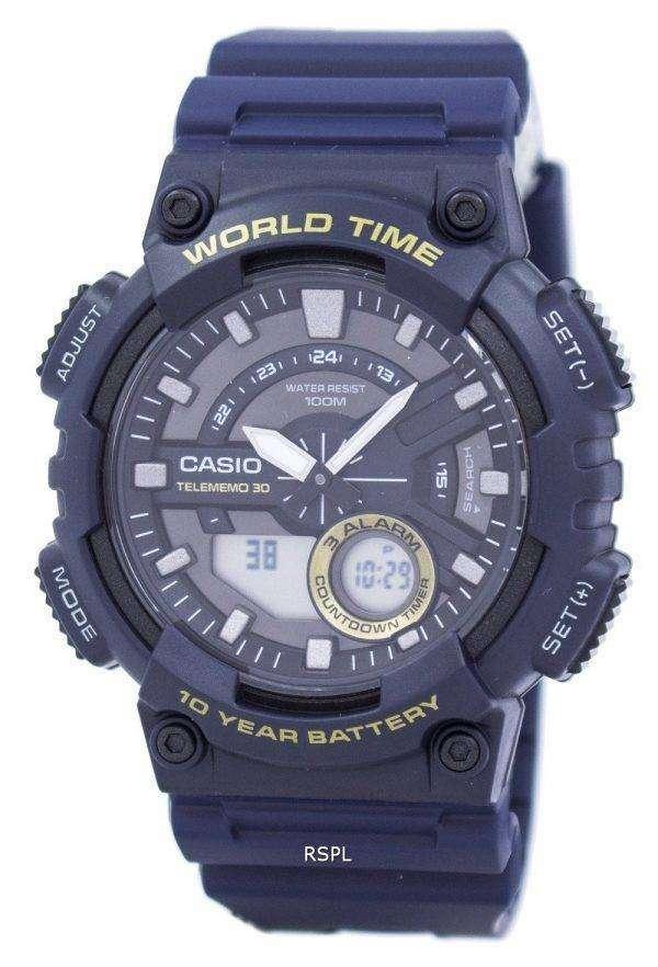 Casio Telememo 30 World Time Alarm Analog Digital AEQ-110W-2AV Men's Watch