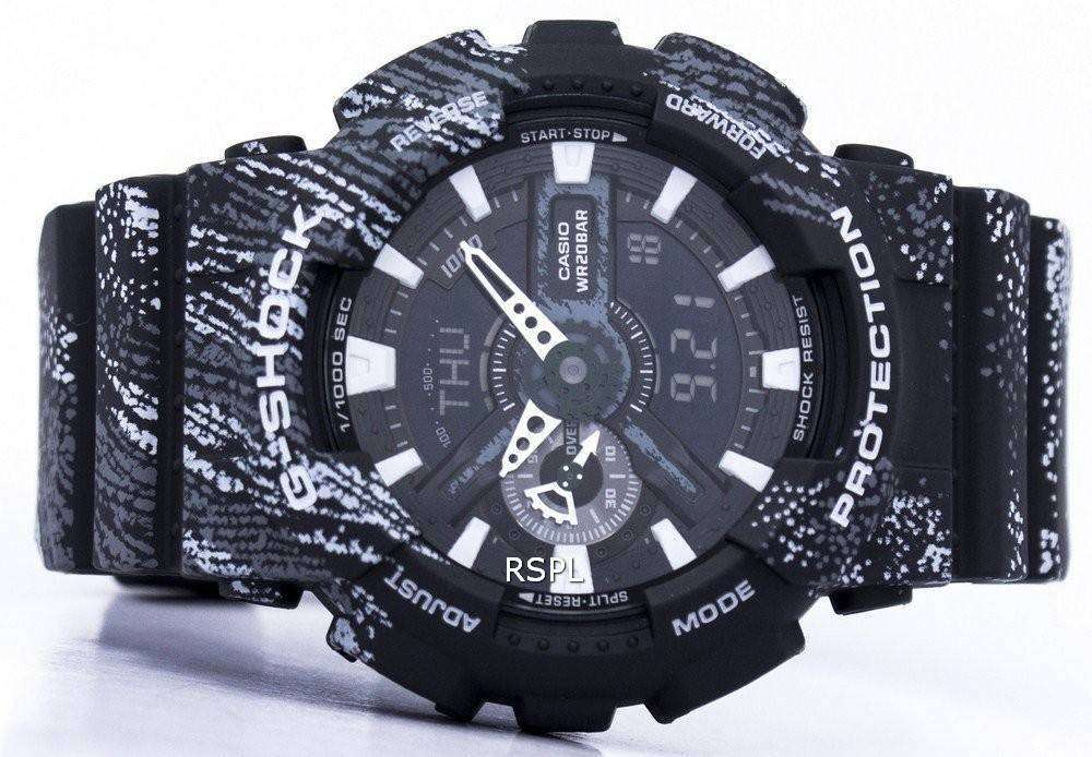 ad02acebc98c Casio G-Shock Shock Resistant World Time Alarm Analog Digital GA-110TX-1A  Men s Watch