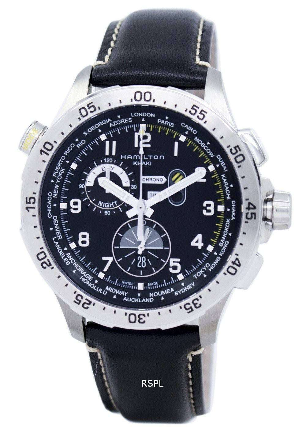 Hamilton Khaki Aviation Worldtimer Chrono Quartz H76714735 Men s Watch c3d34a737ce