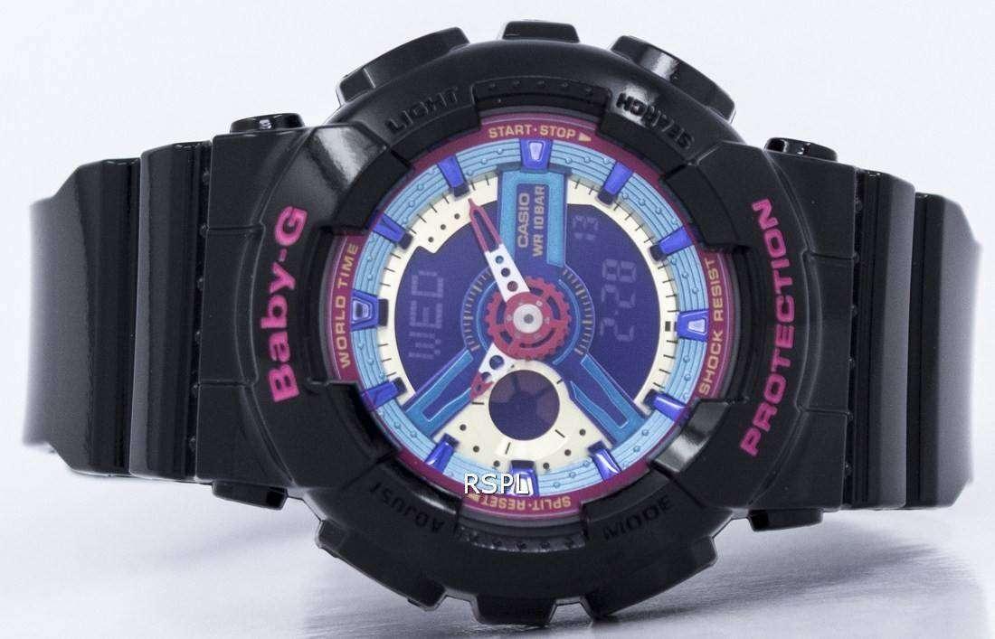 39a1b7ccf71 Casio Baby-G World Time Analog Digital Multicolor Dial BA-112-1A Womens  Watch