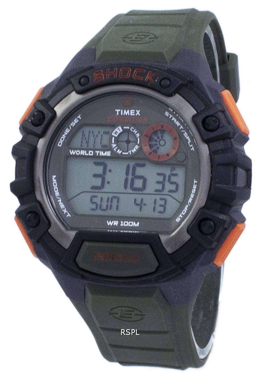 nuevo producto 264e8 721c1 Timex Expedition Shock World Time Indiglo Digital T49972 Men's Watch