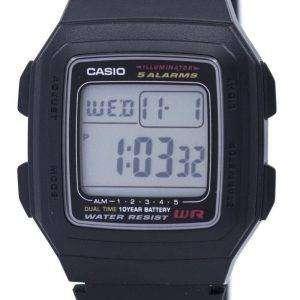 Casio Digital 5 Alarms Dual Time Illuminator F-201WA-1ADF F-201WA-1A Mens Watch