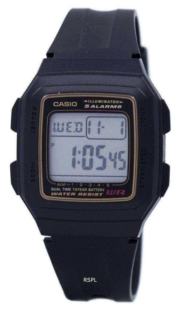 Casio Digital 5 Alarms Dual Time Illuminator F-201WA-9ADF F-201WA-9A Mens Watch