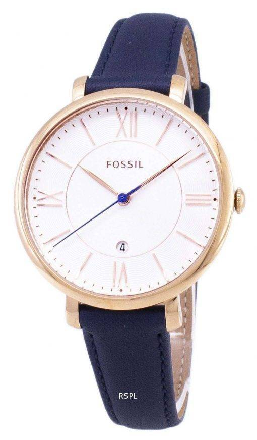 Fossil Jacqueline Silver Dial Navy Blue Leather ES3843 Womens Watch