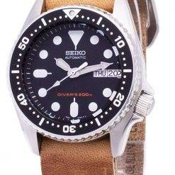 Seiko Automatic SKX013K1-MS10 Diver's 200M Brown Leather Strap Men's Watch
