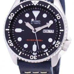 Seiko Automatic SKX007K1-LS15 200M Dark Blue Leather Strap Men's Watch