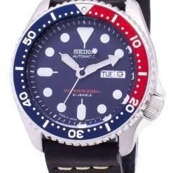 Seiko Automatic SKX009J1-LS14 Diver's 200M Japan Made Black Leather Strap Men's Watch