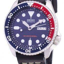 Seiko Automatic SKX009K1-LS14 Diver's 200M Black Leather Strap Men's Watch