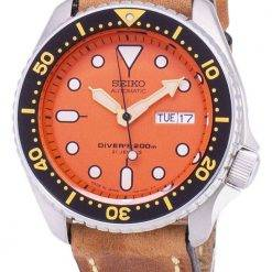 Seiko Automatic SKX011J1-LS17 Diver's 200M Japan Made Brown Leather Strap Men's Watch