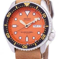 Seiko Automatic SKX011J1-LS18 Diver's 200M Japan Made Brown Leather Strap Men's Watch