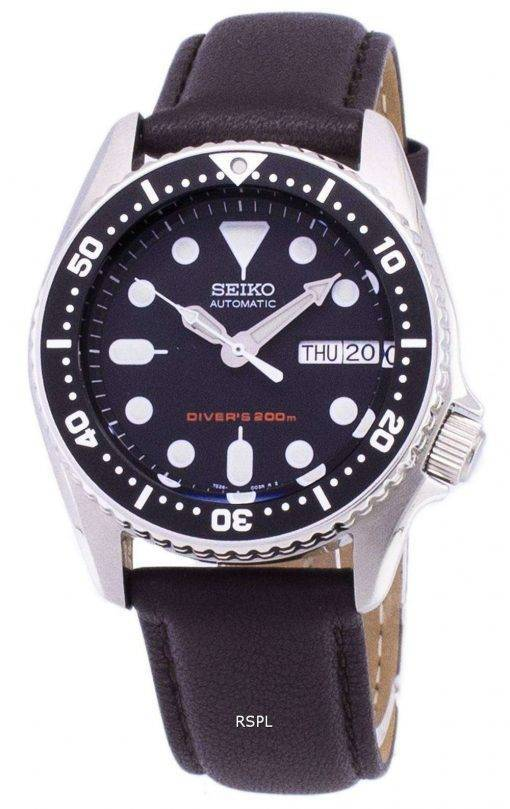 Seiko Automatic SKX013K1-MS6 Diver's 200M Dark Brown Leather Strap Men's Watch