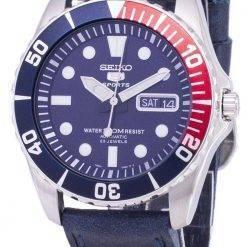Seiko 5 Sports SNZF15K1-LS13 Automatic Dark Blue Leather Strap Men's Watch