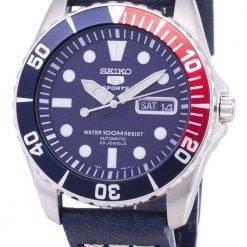 Seiko 5 Sports SNZF15K1-LS15 Automatic Dark Blue Leather Strap Men's Watch