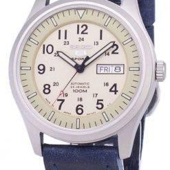Seiko 5 Sports SNZG07J1-LS13 Military Japan Made Dark Blue Leather Strap Men's Watch