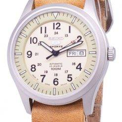 Seiko 5 Sports SNZG07J1-LS18 Military Japan Made Brown Leather Strap Men's Watch