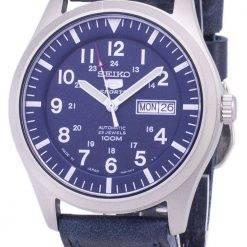 Seiko 5 Sports SNZG11J1-LS13 Japan Made Dark Blue Leather Strap Men's Watch