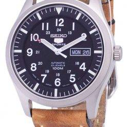 Seiko 5 Sports SNZG15J1-LS17 Automatic Japan Made Brown Leather Strap Men's Watch