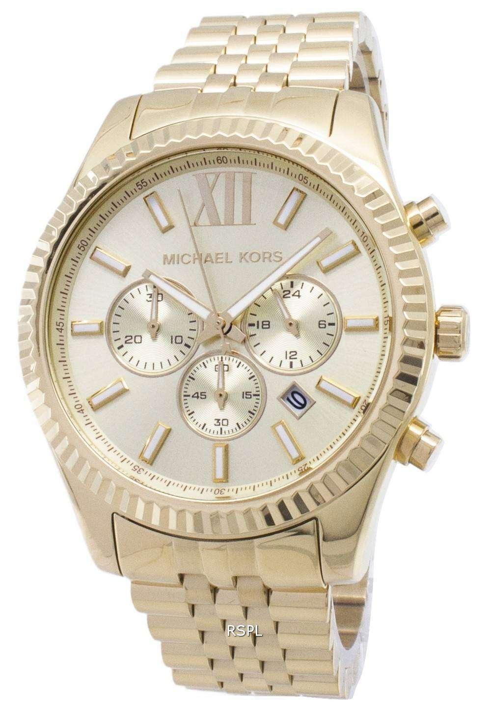 5e1a36760684 Michael Kors Lexington Chronograph Champagne Dial MK8281 Mens ...