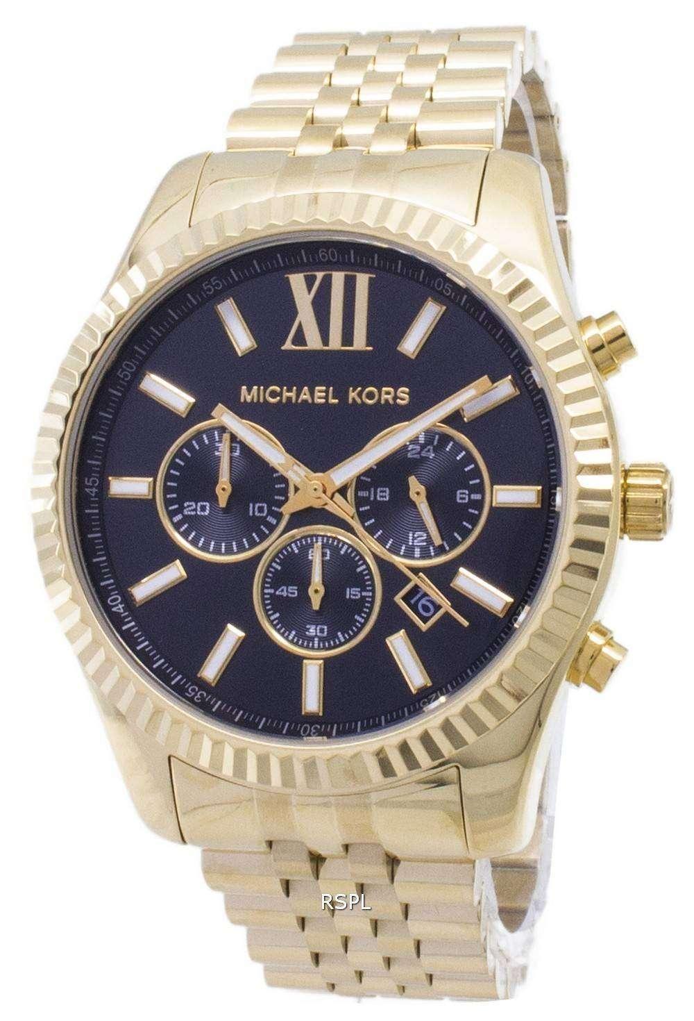 Michael Kors Chronograph Black Dial Gold Tone Mk8286 Mens