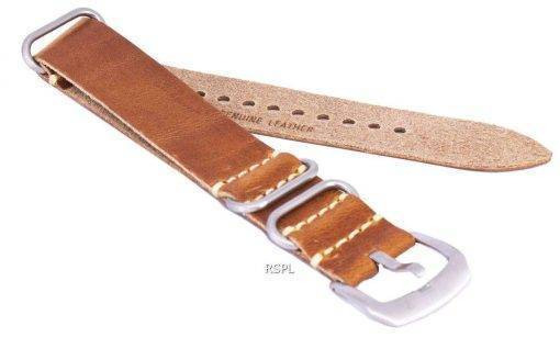 Brown Ratio Brand Leather Strap 22mm