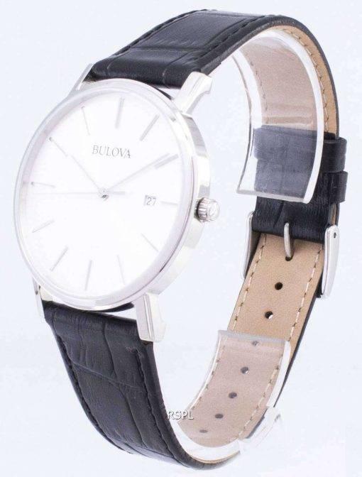Bulova Black Leather 96B104 Men's Watch