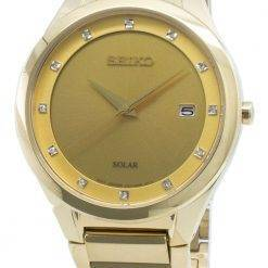 Seiko Solar SNE384 SNE384P9 SNE384P Diamond Accents Men's Watch