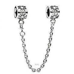 PANDORA 790385-07 Silver Flower Charm With Safety Chain